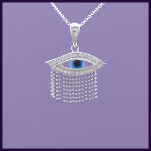 This Evil Eye necklace is surrounded by Cubic Zirconia and is presented on an Italian Sterling Silver chain
